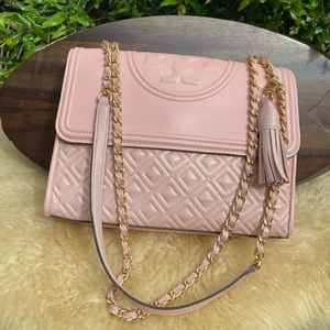 Tory Burch🎀Fleming quilted rose bag medium